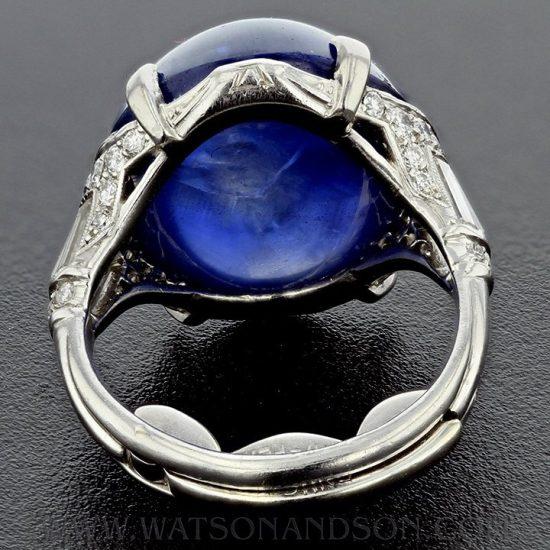Platinum Art Deco Cabochon Cut Star Sapphire &Amp; Diamond Ring 4