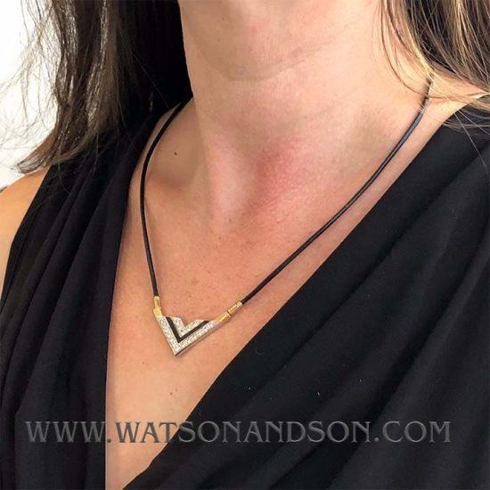 Onyx & Diamond Deco Revival Necklace 3