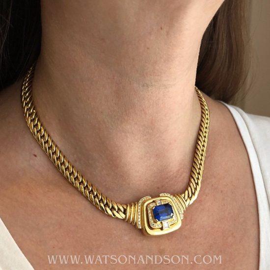Yellow Gold Sapphire &Amp; Diamond Collar 3