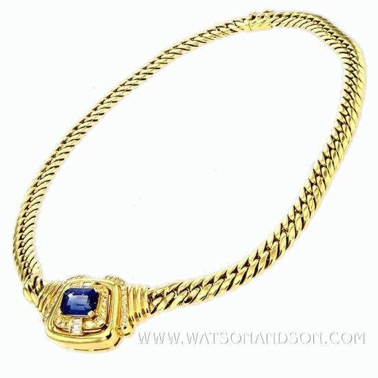 Yellow Gold Sapphire &Amp; Diamond Collar 2