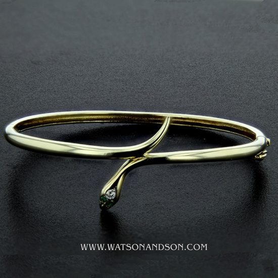 14K Yellow Gold Snake Bangle 1