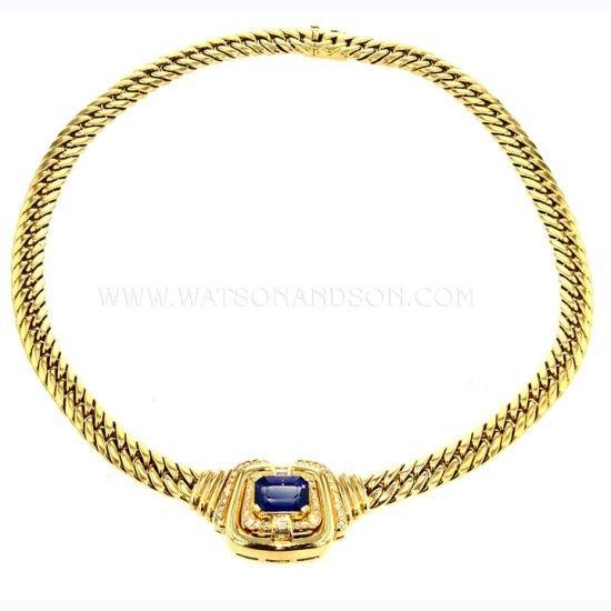 Yellow Gold Sapphire &Amp; Diamond Collar 1