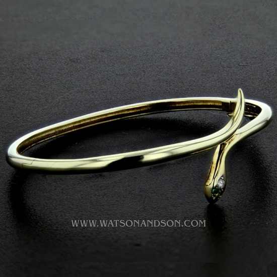 14K Yellow Gold Snake Bangle 4