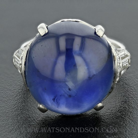 Platinum Art Deco Cabochon Cut Star Sapphire &Amp; Diamond Ring 6