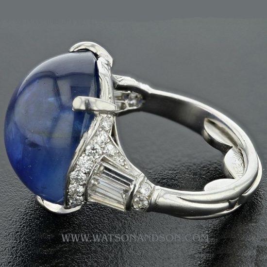 Platinum Art Deco Cabochon Cut Star Sapphire &Amp; Diamond Ring 5