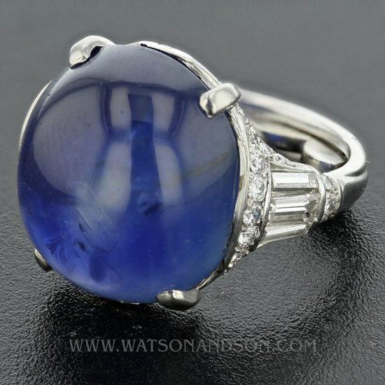 Platinum Art Deco Cabochon Cut Star Sapphire &Amp; Diamond Ring 1