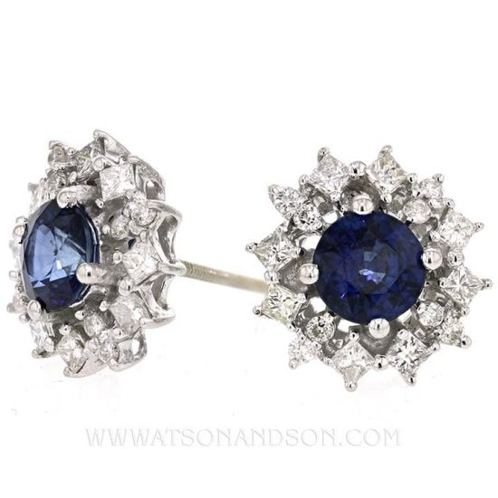 White Gold Sapphire And Diamond Button Earrings 2