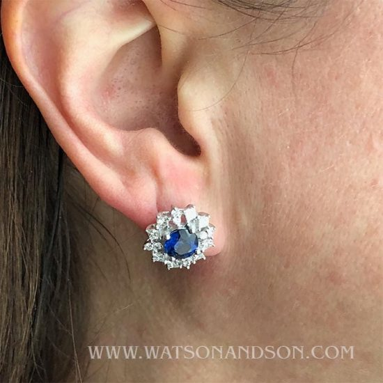 White Gold Sapphire And Diamond Button Earrings 3