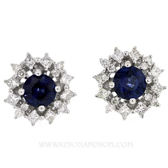 White Gold Sapphire And Diamond Button Earrings 1