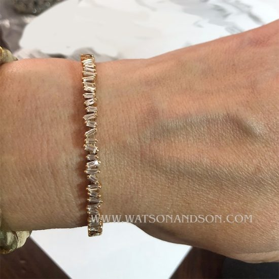18K Rose Gold Baguette Cuff Designed By Suzanne Kalan 4