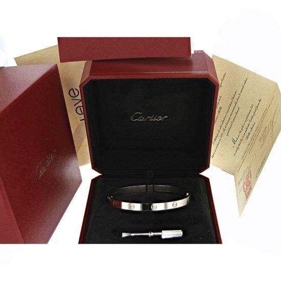 Cartier White Gold Love Bangle Bracelet 3