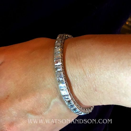 Platinum Straight Line Car`e Diamond Bracelet 5
