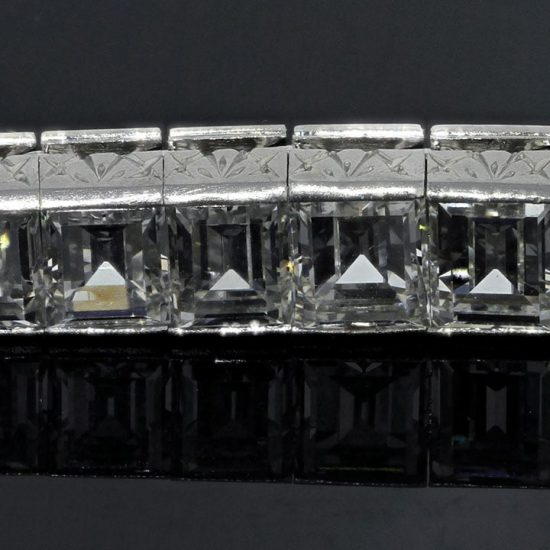 Platinum Straight Line Car`e Diamond Bracelet 4