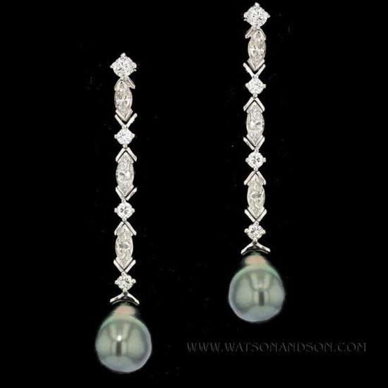 Elegant Tahitian Pearl and Diamond Drop Earrings 1