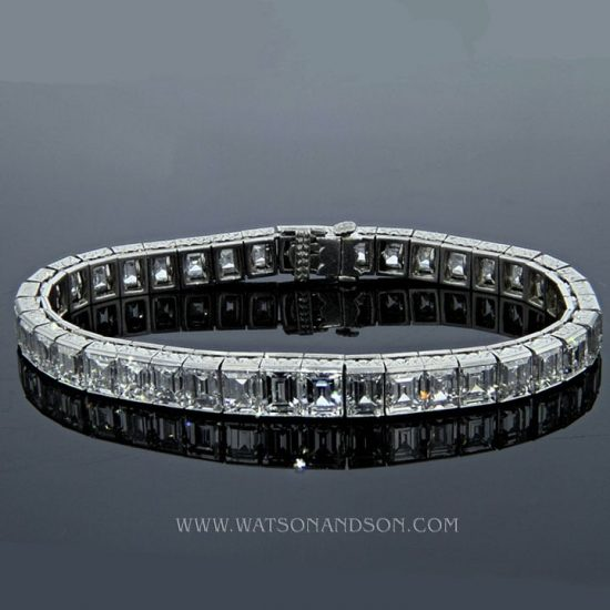 Platinum Straight Line Car`e Diamond Bracelet 3