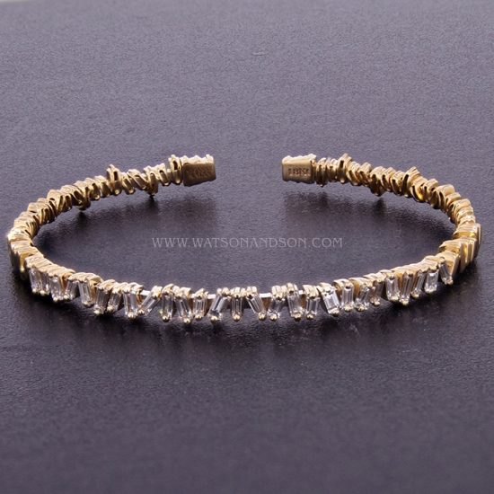 18K Rose Gold Baguette Cuff Designed By Suzanne Kalan 7