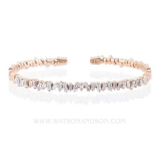 18K Rose Gold Baguette Cuff Designed By Suzanne Kalan 8