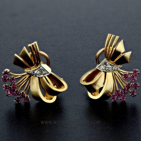Retro Ruby And Diamond Clip Earrings 1