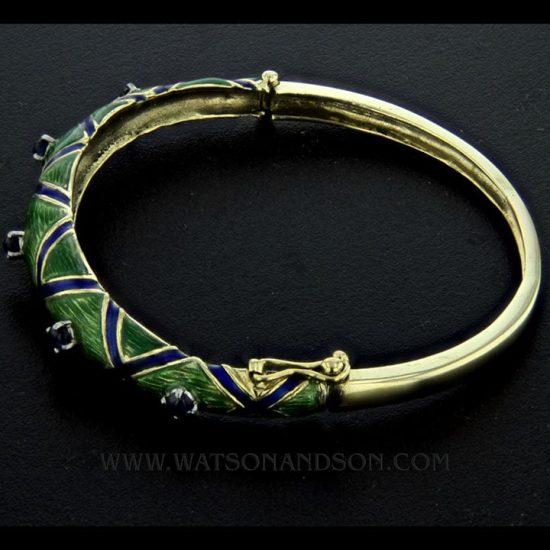 Enamel And Sapphire Bangle Bracelet 4