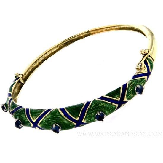 Enamel And Sapphire Bangle Bracelet 1