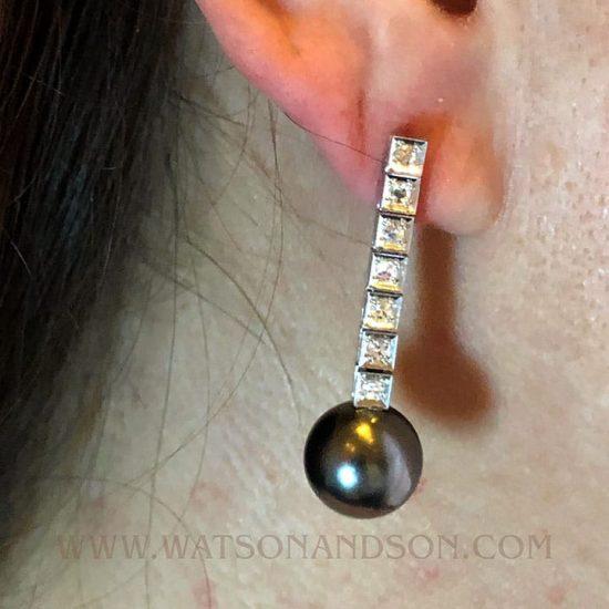 Lustrous Tahitian Black Pearl And Diamond Drops 4