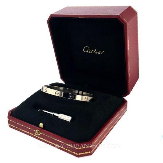 Cartier White Gold Love Bangle Bracelet 5