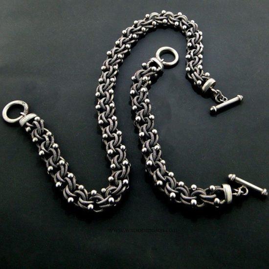 Sterling Silver Necklace And Bracelet Set 2