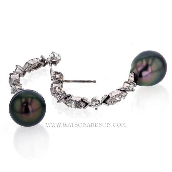 Elegant Tahitian Pearl and Diamond Drop Earrings 4