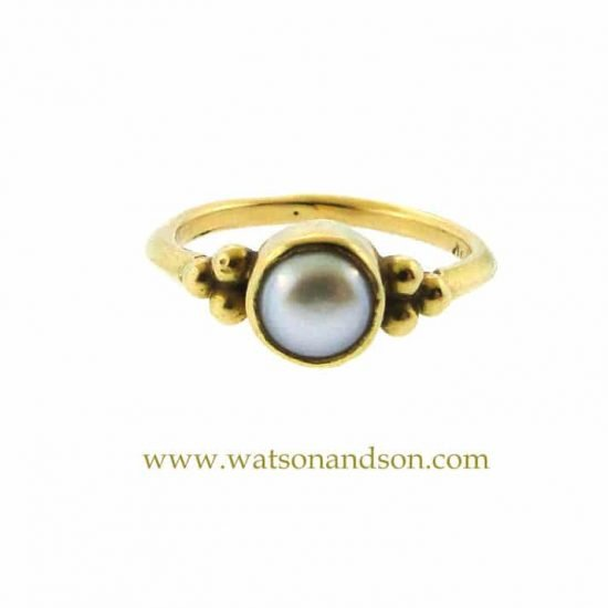 18K Granulated Pearl Ring 1