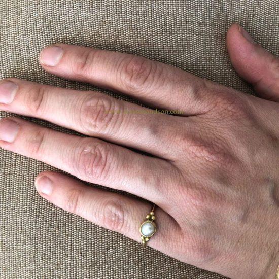 18K Granulated Pearl Ring 5