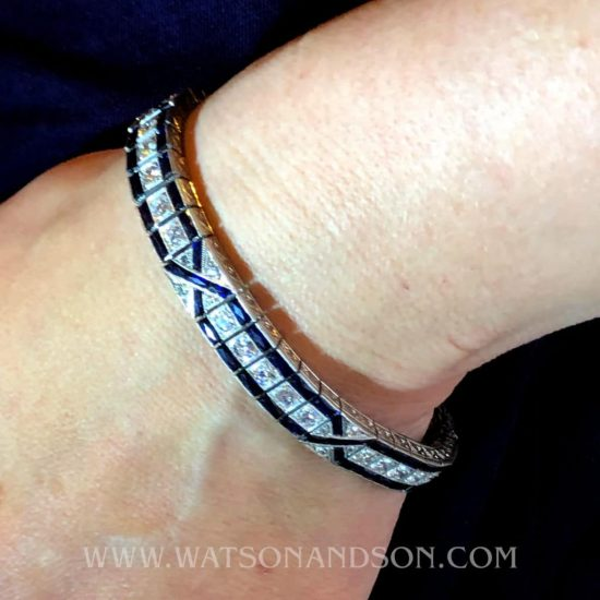 Art Deco Sapphire And Diamond Bracelet 4