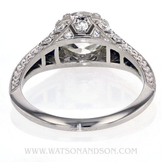 Edwardian Style Sapphire And Diamond Solitaire Ring 4