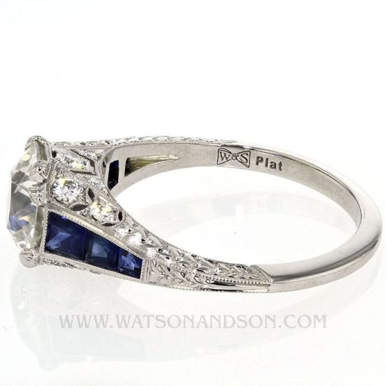 Edwardian Style Sapphire And Diamond Solitaire Ring 3