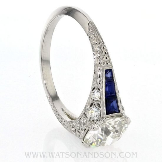 Edwardian Style Sapphire And Diamond Solitaire Ring 5