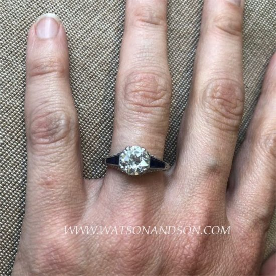 Edwardian Style Sapphire And Diamond Solitaire Ring 6