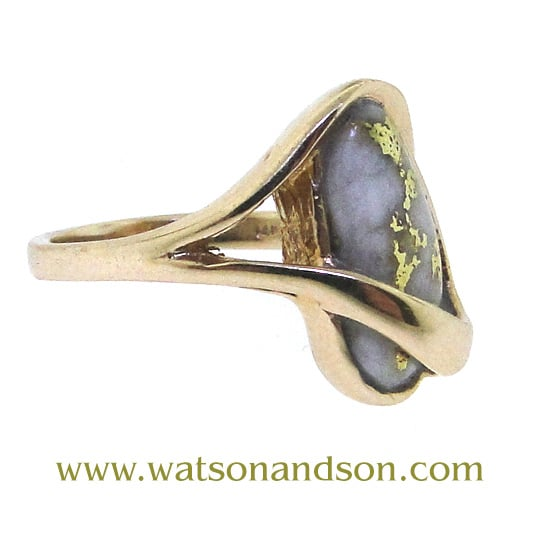 14K Gold Bearing Quartz Ring 5