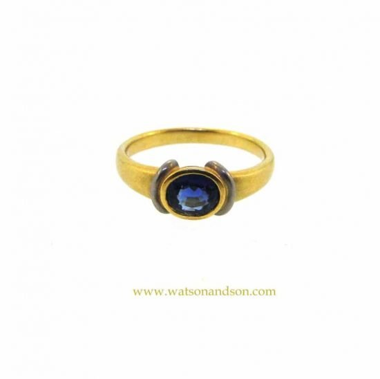 18K And Platinum Oval Sapphire Ring 2
