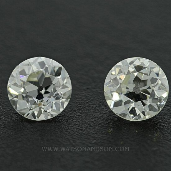 Matching Pair Of European Cut Diamonds 1