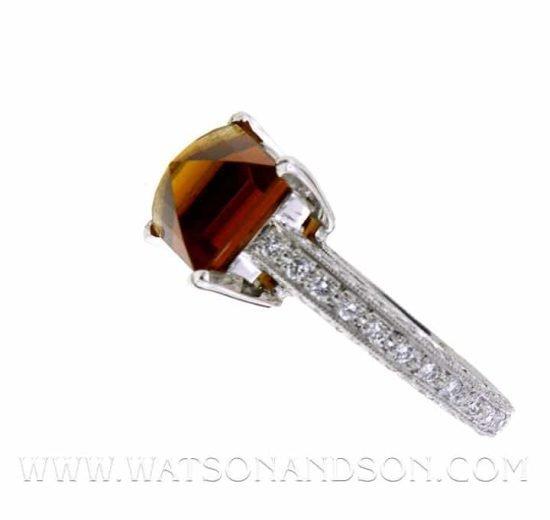 Platinum Hessonite Garnet And Diamond Solitaire 4