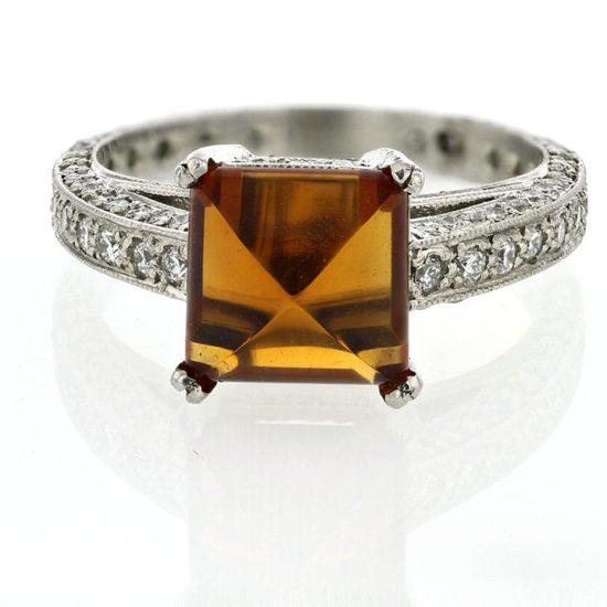 Platinum Hessonite Garnet And Diamond Solitaire 1