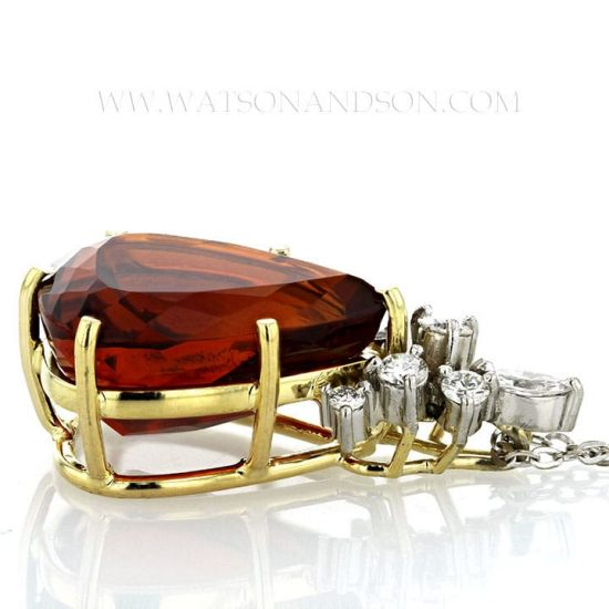 H.stern 18K Yellow Gold And Platinum Garnet Drop Pendant 6