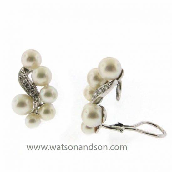 Platinum Diamond And Pearl Ear Clips 2