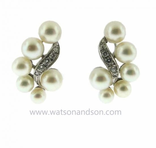Platinum Diamond And Pearl Ear Clips 1