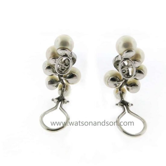 Platinum Diamond And Pearl Ear Clips 3