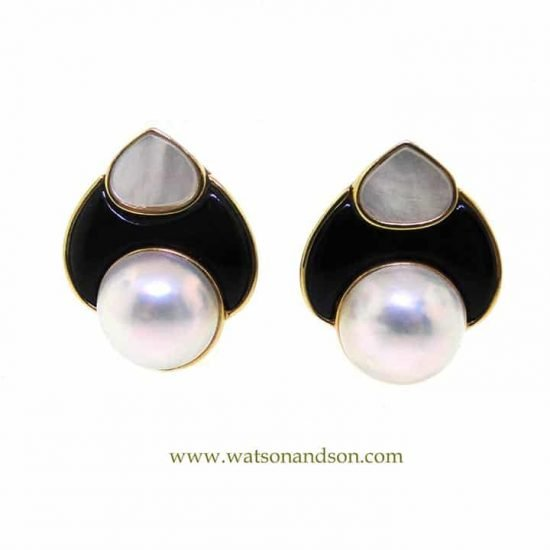Yellow Gold Carved Mother of Pearl, Onyx and pearl clips 1