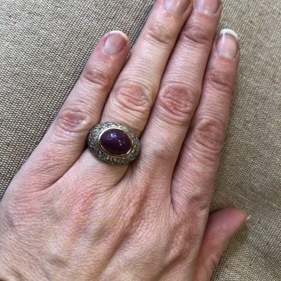 Cabochon Ruby And Diamond Dome Ring 2