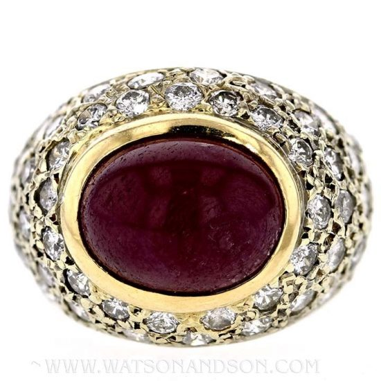 Cabochon Ruby And Diamond Dome Ring 4