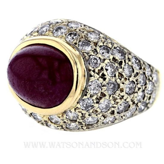 Cabochon Ruby And Diamond Dome Ring 1
