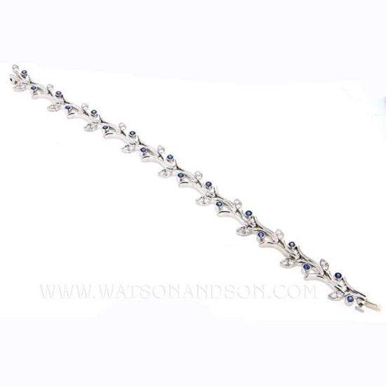 Platinum Tiffany &Amp; Co Platinum Sapphire And Diamond Garland Bracelet 2