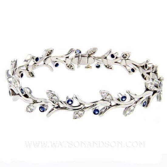 Platinum Tiffany &Amp; Co Platinum Sapphire And Diamond Garland Bracelet 1
